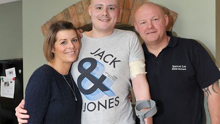 Billy Lee with his mum and dad, Bex and Spencer, at home in Wisbech St Mary.