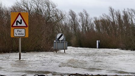 The flooded road at Welney