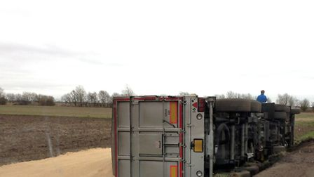 The lorry overturned along Hook Drove, between March and Wimblington.