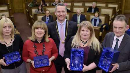 Cambridgeshire County Council staff long service awards presented by vice-chair Cllr Sebastian kinde
