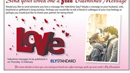 Have a Valentine's Day message appear in the Ely Standard for free!