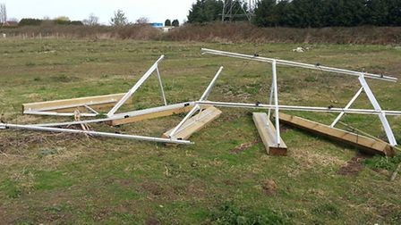 Solar panels and field shelter after the storms on Sunday.
