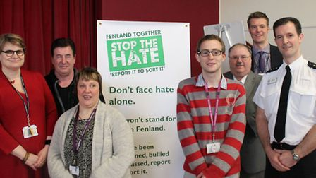 """""""Fenland Together: Stop the Hate – Report It to Sort It"""", Wisbech.Partners against crime. Left: Clai"""