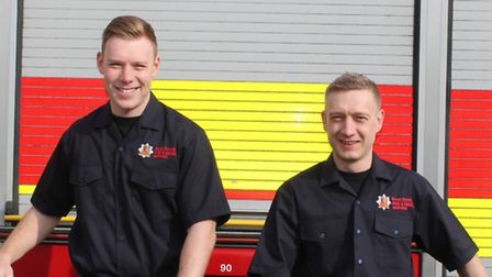 From left, Great Dunomw firefighters Michael Newlands, 23, and Darren Woodward, 40. They will be cyc