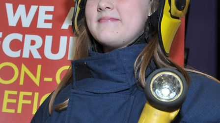 Neale Wade careers convention. Natasha from westwood school tries on firefighter clothes, Picture: S