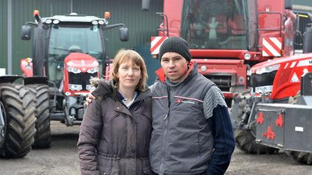 Steve and Sara Raven at their farm on Wisbech road, Westry, March. with equipment going up for aucti