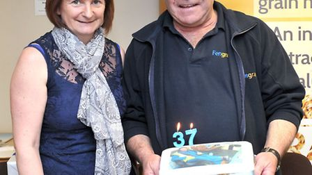 long serving employee Mick Oakey who retires after 37 years.Mick with his retirement cake.Picture: S