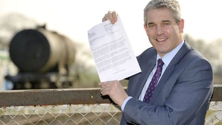 Wisbech rail. MP Steve Barclay with letter from Eric Pickles.