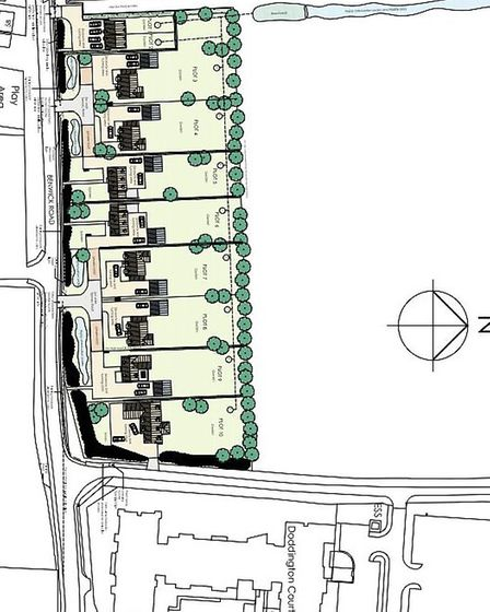 An aerial plan of the 10 home proposed development near Askham House in Doddington.
