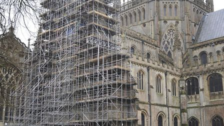 Ely Cathedral's north transept is undergoing repairs.