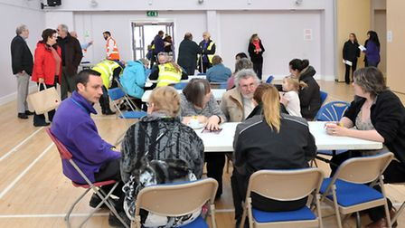 Emergency rest centre at the Manor Leisure Centre, in Whittlesey. Fenland District Council members