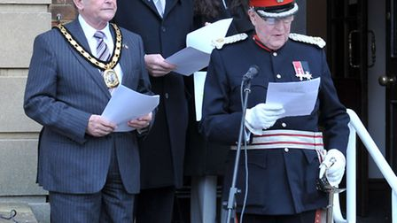 Raising of Commonwealth Flag Fenland Hall, March. Deputy Lieutenant Freddie Grounds reading the mess