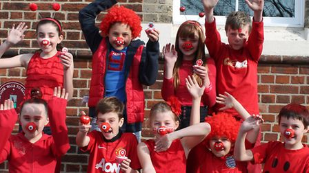 Felsted Primary School pupils celebrate Comic Relief.