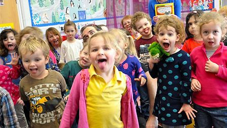 Children from Gosling pre school try their hand at the haka
