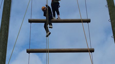 Pupils try their hand at climbing.