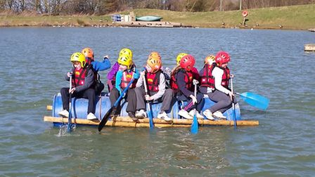 Pupils have a go at rafting.