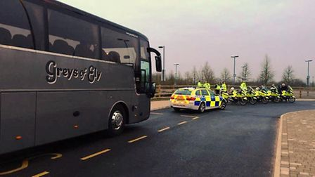 Officers from CambridgeshirePolice escorted two coaches from the Liam Fairhurst Foundation as they t