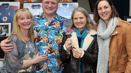 Mark Cross Charity Darts Day. GER March. Left: Kim and Mark Cross withb Karen McAdam, Anne-Marie Bre