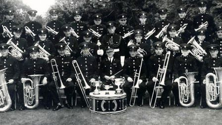 Roy Neal, pictured standing with his mace, with the Littleport Band, in 1951.