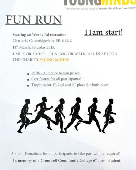 Cromwell Community College Chatteris Sixth formers are organising a fun run to raise money in memory