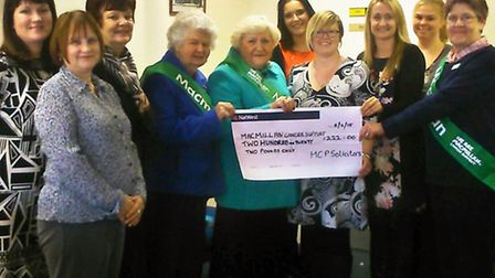 Fund-raising volunteers receive the cheque for 222 from staff at Metcalfe Copeman & Pettefar in Wisb