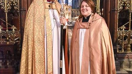 Canon Dr Victoria Johnson with the Bishop of Ely, the Rt. Revd Stephen Conway.