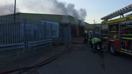 Wood chippings caught fire at Lattersey Hill Trading Estate in Whittlesey. Picture: Cambs Fire and R