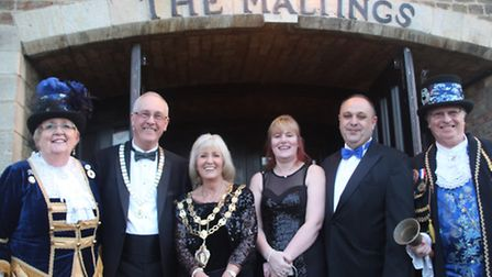 Ely's town crier, Avril Hayter-Smith, with Colin and Lis Every, Jo and Andy Pearson, and Graham Hayt