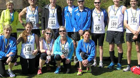 Grange Farm and Dunmow Runners at the St Clare Hospice 10K