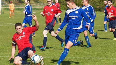 Action from Outwell Swifts v Swavesey Institute. Picture: Barry Giddings.