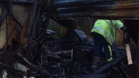The aftermath of the Wisbech garage explosion. Picture: Cambs Fire and Rescue.