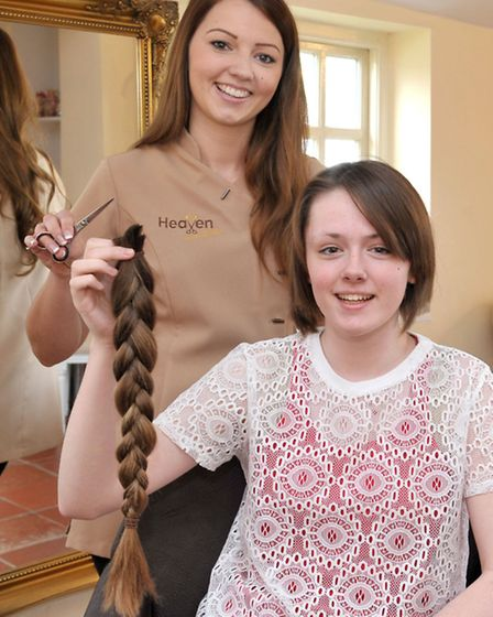 14 year old Madison Collins had her hair cut for Little Princess charity, By top stylist Stephanie W
