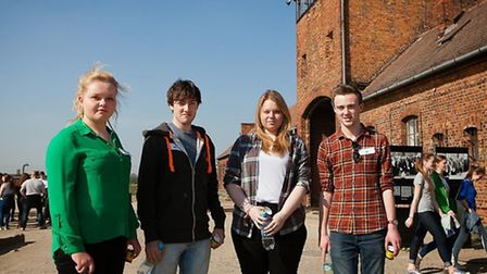 Ely College students Nicola Dunk and Matthew Setchfield with Cromwell Community College students Ell