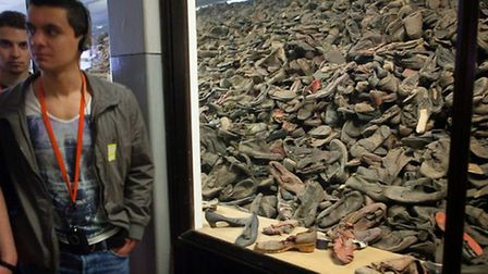 A pile of shoes which belonged to prisoners. Picture: Yakir Zur