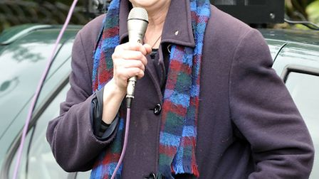 Victoria Gillick took the microphone to address a protest rally over immigation held in Wisbech Park