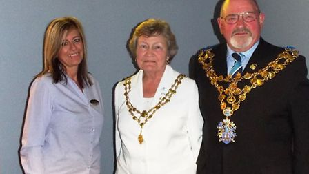 Cinema manager Michaela Frusher with Wisbech Mayor Mike Hill and his wife Jane.