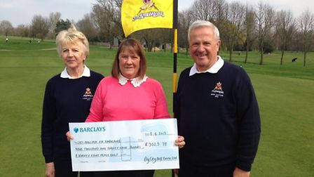 Binnie Bridgeman, with Mary Done, of the East Anglian Air Ambulance, and Dave Woods.