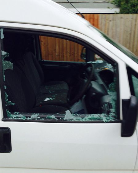 The smashed van window at West Park Street, Chatteris.