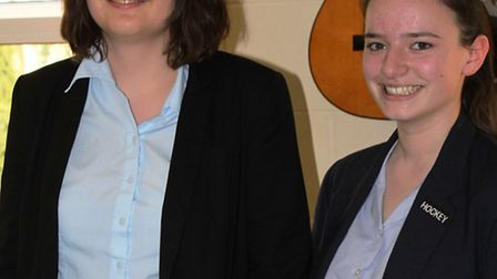 Two pupils at Wisbech Grammar School who have achieved distinction at grade eight in the flute. In t