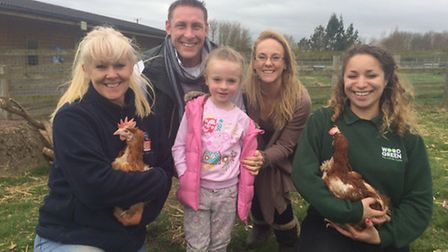 Julie Lankshear from the British Hen Welfare Trust, William Cook, Bethany Carr, Sarah Carr and Wood