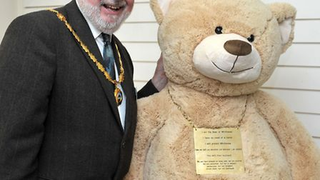 The Whittlesea Bear with Mayor of Whittlesey David Mason. Picture: Steve Williams.