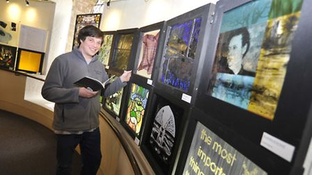 Stained Glass Museum Exhibition, inspired by Dylan Thomas, Visitor Services and Shop Manager Steven