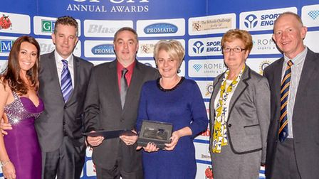 Mick and Karen Hodson, centre. Richard Faulds MBE and wife Tanya from Owls Lodge, third and second f