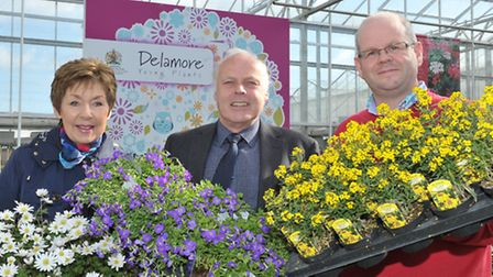 Wisbech in Bloom launch Delamore, Wisbech St Mary.Left: Penny Stocks, Brian Massingham and Wayne Ead