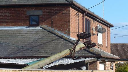 High winds brought down a telegraph pole in Leverington