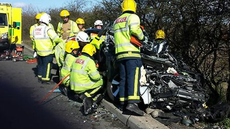 These images show the wreckage after a collision on the A1 southbound between a car and lorry this m