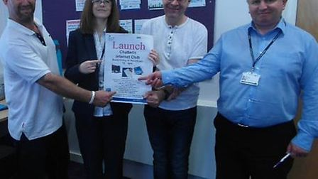 Chatteris Job club. From left: Peter Hinson (learner), Stephanie Smith (project worker, Cambridgeshi