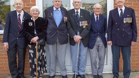 RAF Pathfinders Parade at the Oliver Cromwell hotel, March. Left: Roy Briggs, June Tindall, Jack Wat