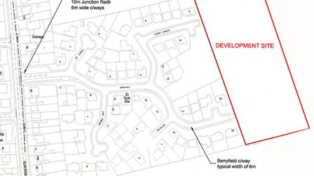 Outline plans for 30 homes off Berryfields, in March, have been recommended for approval.