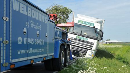 Lorry stuck on verge. Whittlesey Rd, March. Picture: Steve Williams.